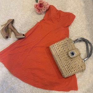 J Crew Orange Searsucker Strapless Dress Sz/ 4